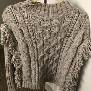 Gray Sweater with Frill Sleeves